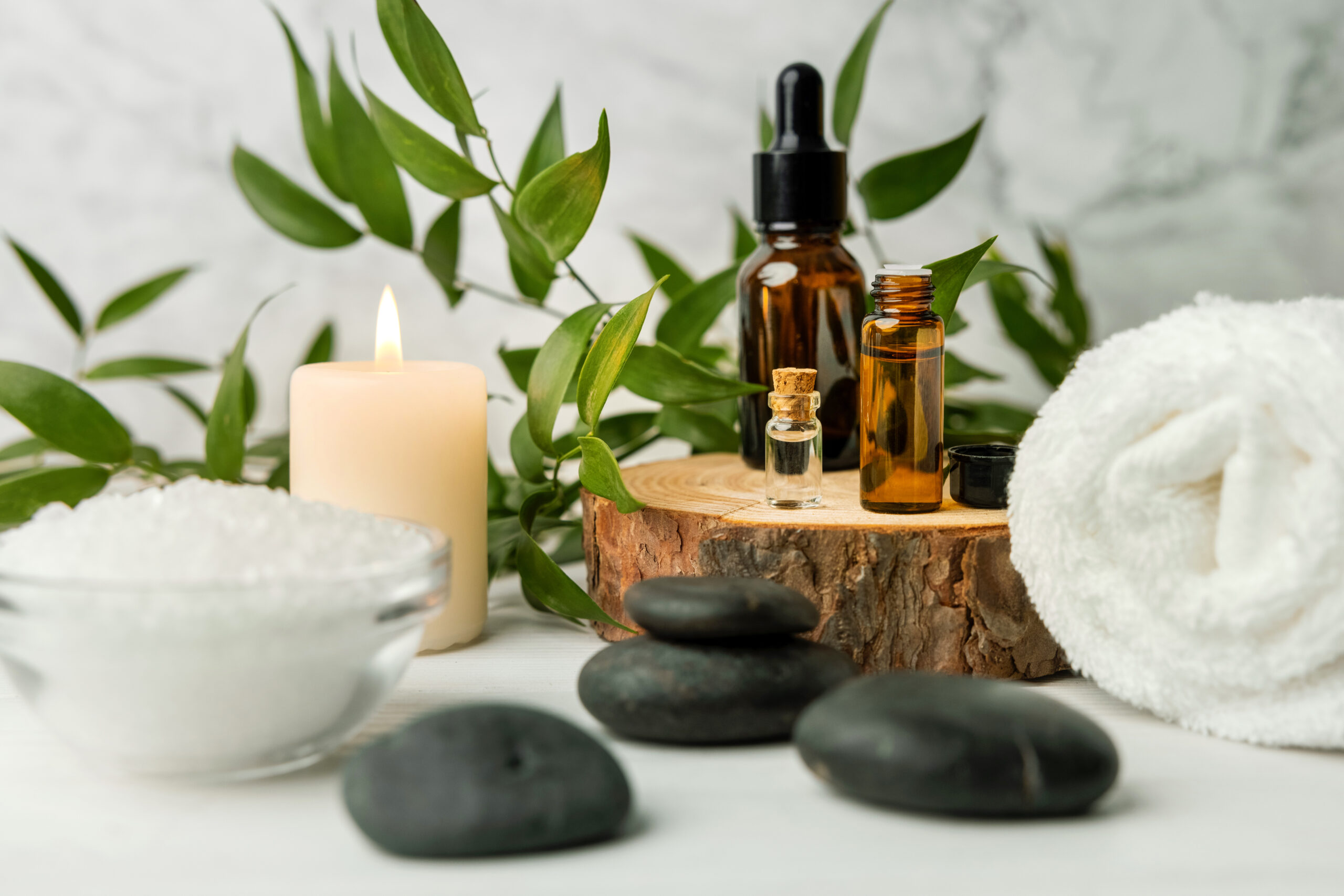 Beauty treatment items for spa on wooden table